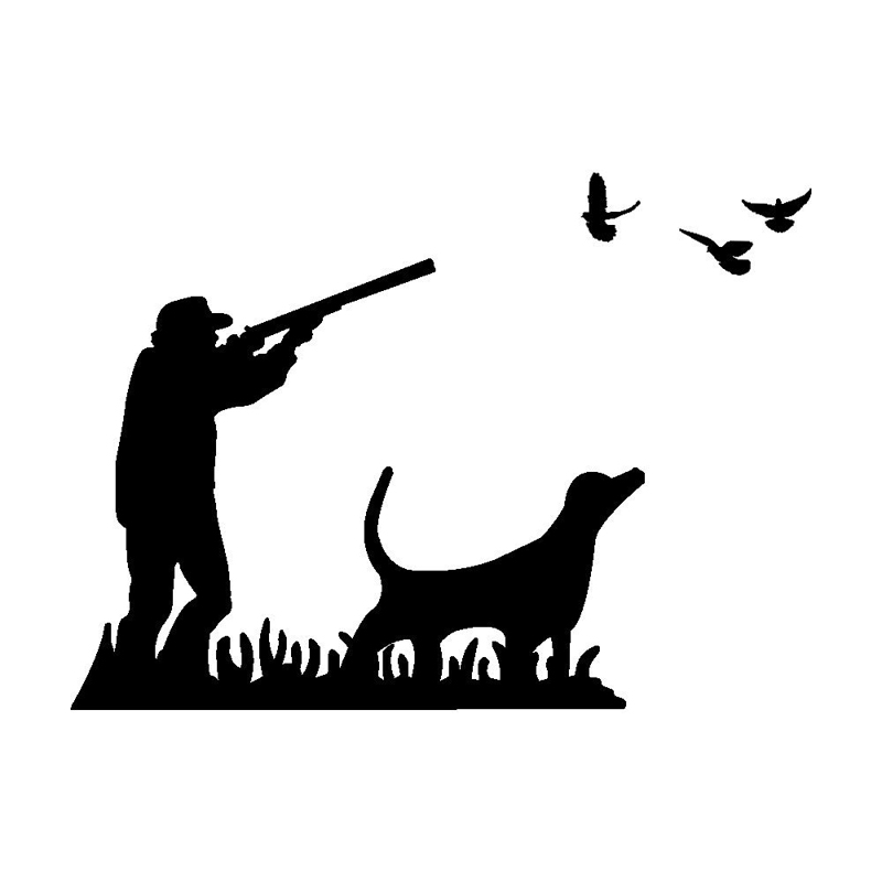 16.6cm*12cm Funny Dove Hunting With Dog Vinyl Car-styling Decal Car Sticker S6-3301