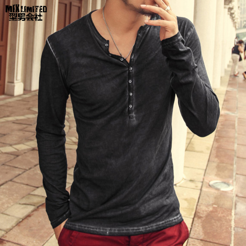 2018 Men Long Sleeve Washed V Neck Slim   T  -  shirt   Men Solid Color Retro Casual Cotton   T  -  shirt   High Quality European Style   T  -  shirt