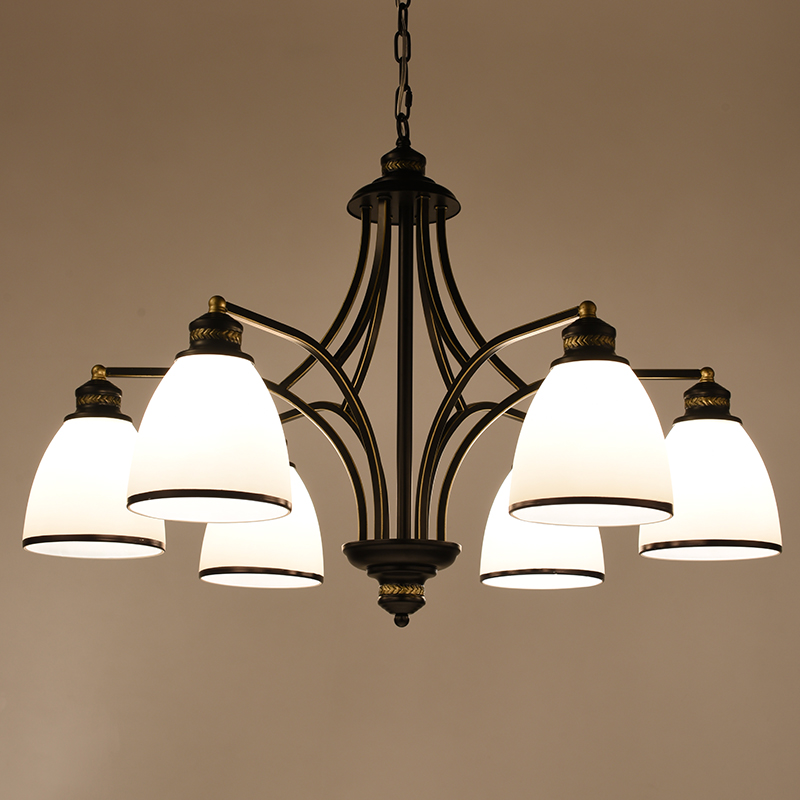 Spray Lacquer Chandelier 6/8 Lamp Arms LED morden Pendant lamp Glass shade ceiling lamp for Living Room Bedroom Dinning Room