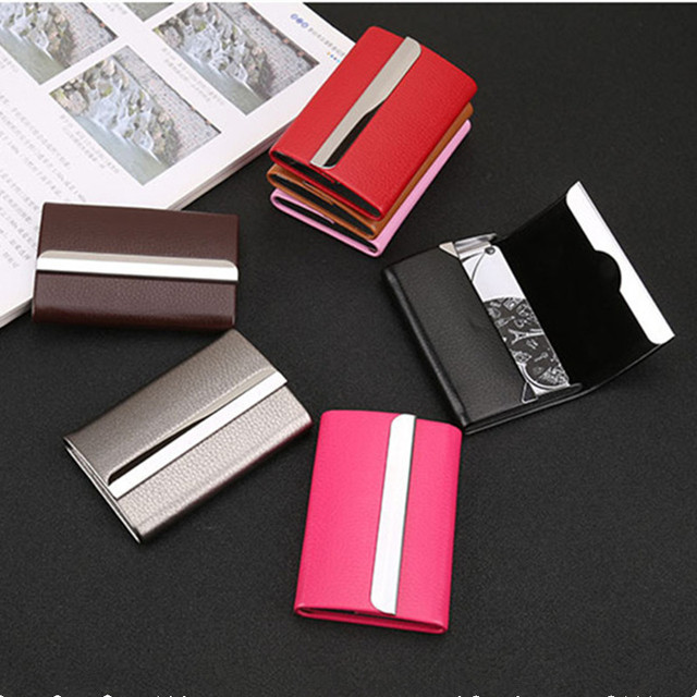 Bisi Goro 2021 New Wallet Men Bussiness Card Name Holder Pu  Leather ID Card Case Bank Card Holder Wallet Package 7 Colors 5