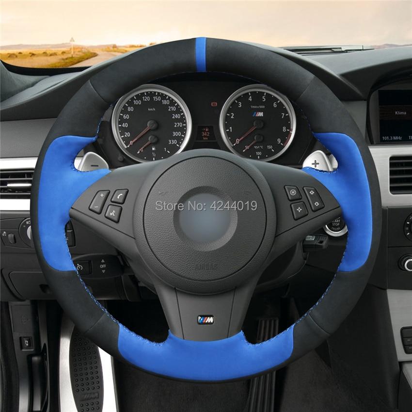 Voiture couvre volant Volant Wrap Noir Bleu En Daim Coudre À La Main bricolage Pour BMW E60 E63 E64 M5 2005 2007 2008 M6 2007