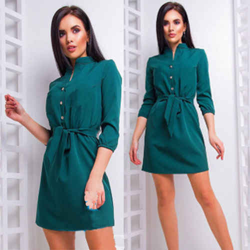 Women Solid Casual Clothes Long Sleeve Mini Dress Party Beach Dress Shirt Dress Casual Sundress