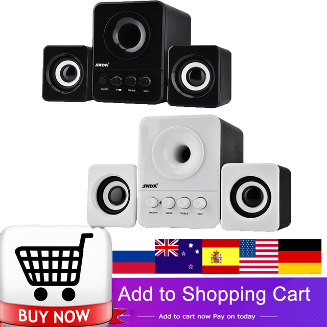 SADA D-203 Wired Mini Portable Combination Speaker for Laptop Desktop Computer Mobile Phone Column Bass Cannon 3W PC Speakers