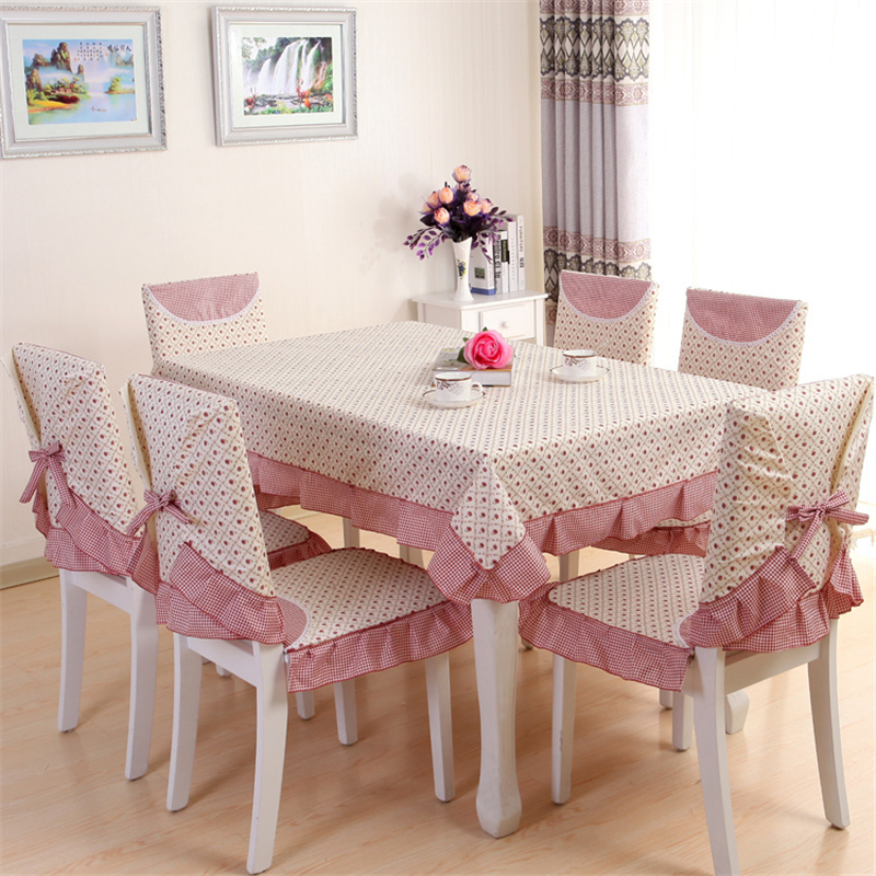 13pcs set Pastoral Beautiful Rose Design Table Cloth Set Chair Cover Cusion Tablecloth Polyester Cotton Flower
