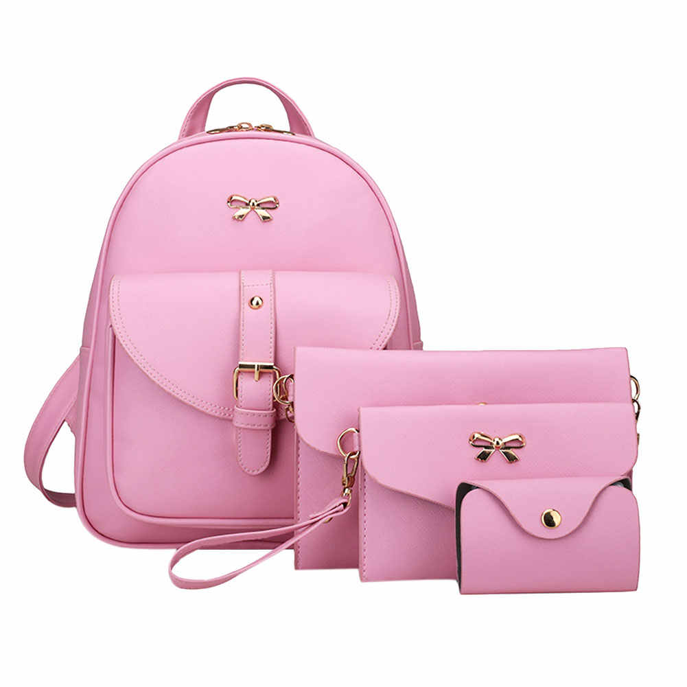 Fashion 4Pcs Women Bowknot Backpack Female PU leather Clutch Bag Ladies Casual Pink Bag Set Girls School Rucksack Tote