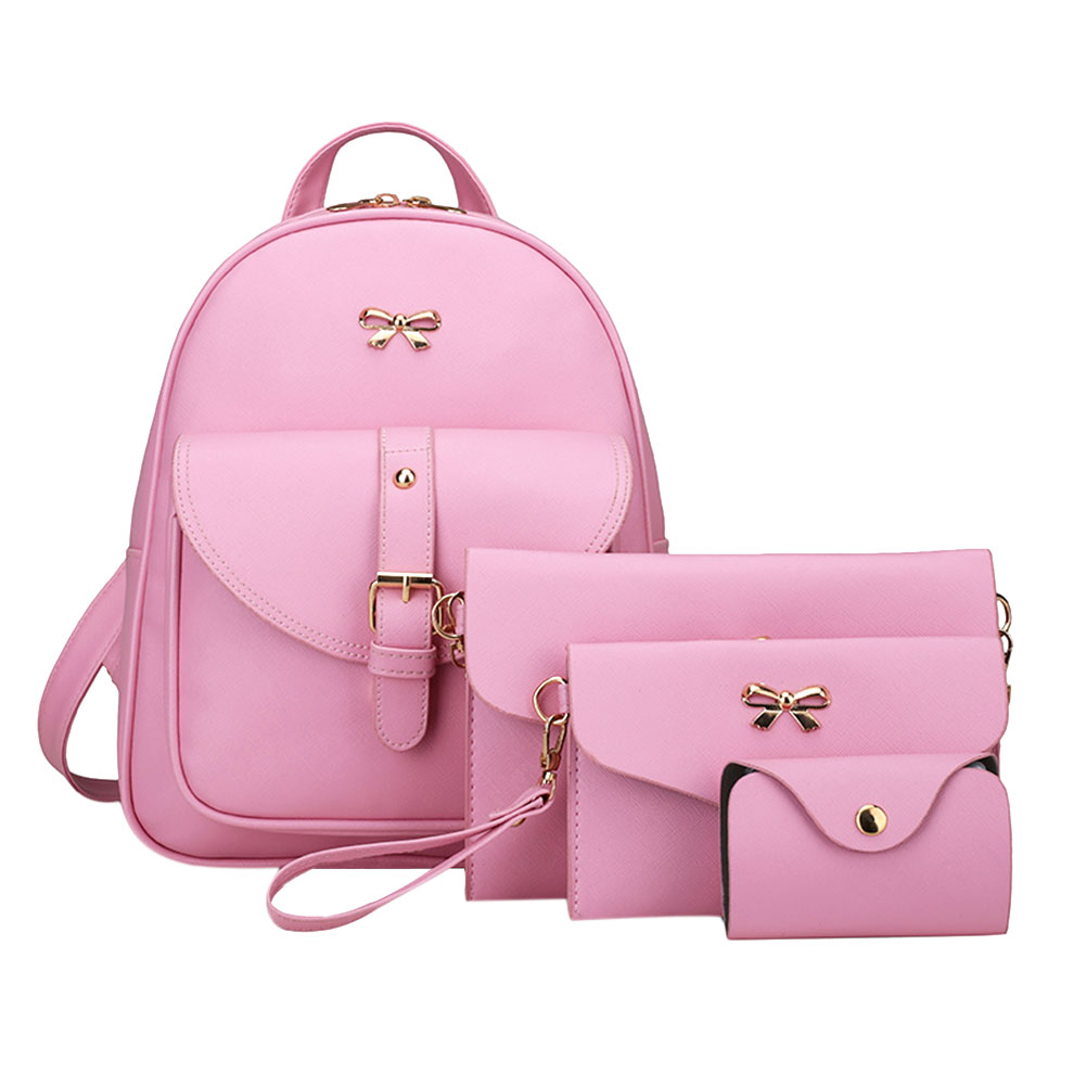 Fashion 4Pcs Women Bowknot Backpack Female PU leather Clutch Bag Ladies Casual Pink Bag Set Girls School Rucksack Tote 4pcs set women fashion backpack pu leather teenage school bag casual clutch crossbody travel bags for girls with purse and bear