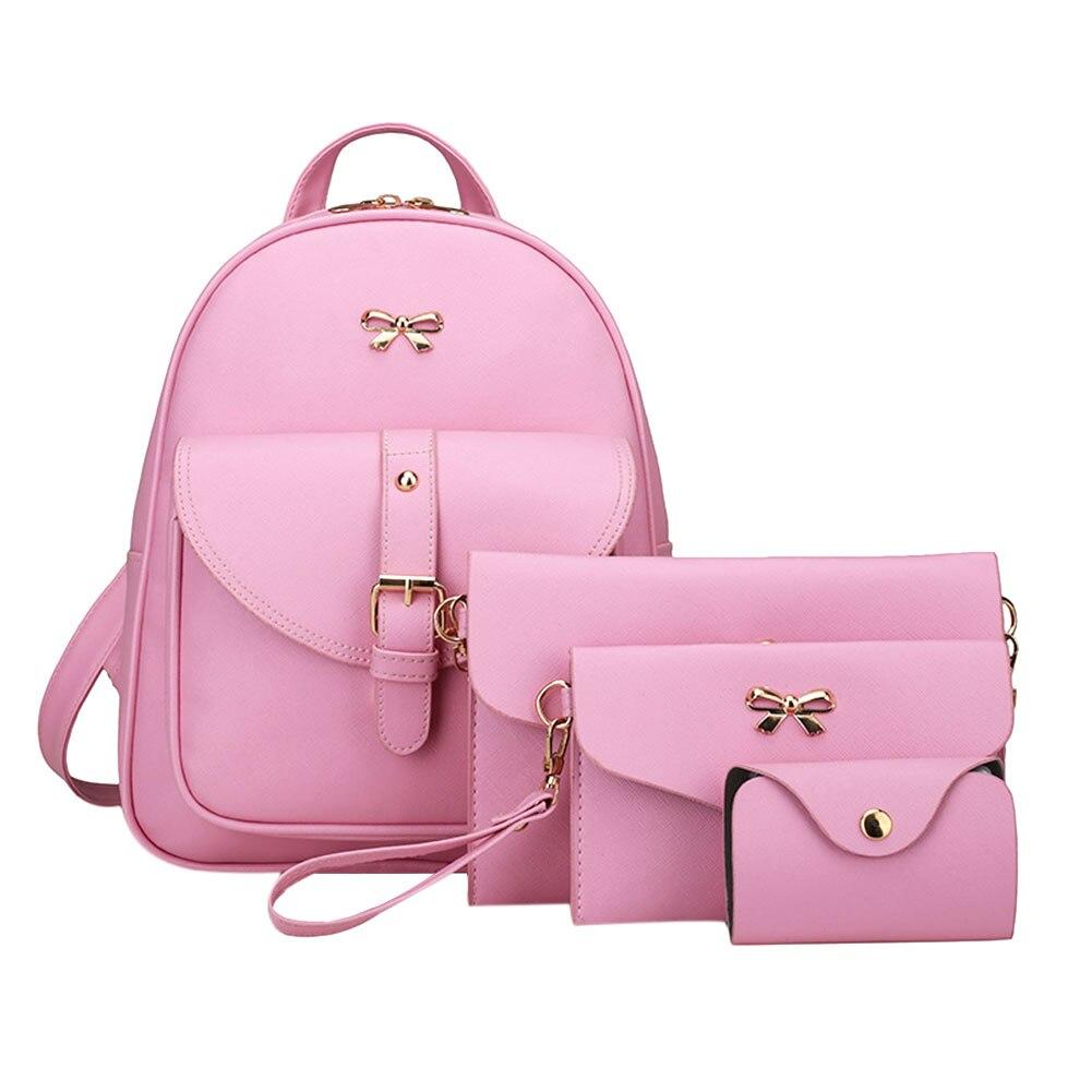 Fashion 4Pcs Women Bowknot Backpack Female PU leather Clutch Bag Ladies Casual Pink Bag Set Girls School Rucksack Tote