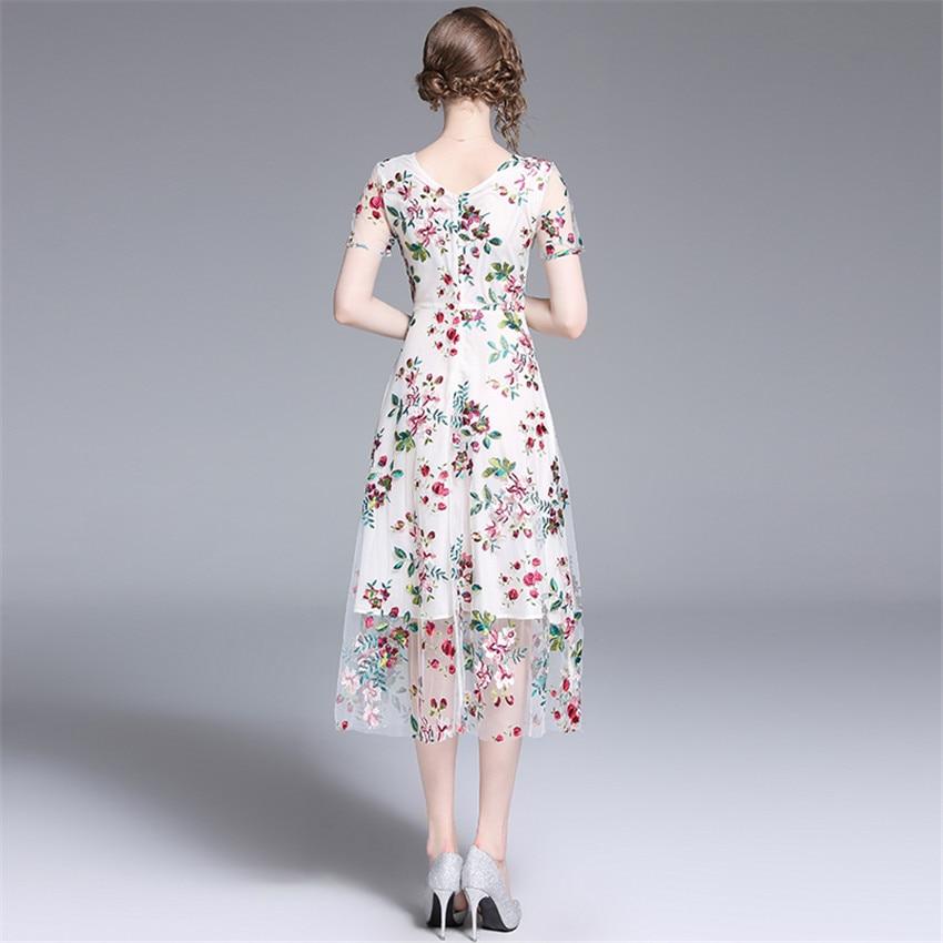 2019 Robe d'été femmes à manches courtes Sexy pure Floral broderie maille Robe dames Vintage robes mi-mollet Robe Femme - 6