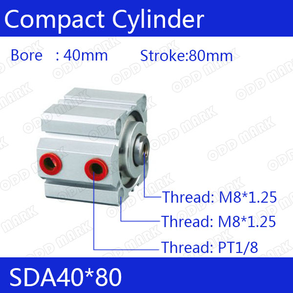 SDA40*80 Free shipping 40mm Bore 80mm Stroke Compact Air Cylinders SDA40X80 Dual Action Air Pneumatic Cylinder free shipping 40mm bore 80mm stroke 1 8 port pneumatic compact cylinder double action airtac type sda40x80 aluminum alloy