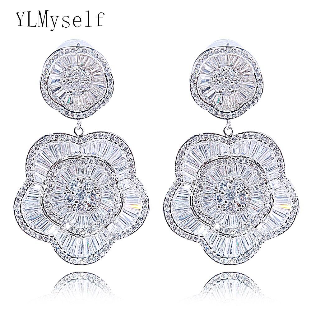 Très grandes boucles d'oreilles chères pour bijoux de mariage bijoux de luxe blanc et or haut de couleur grande boucle d'oreille de qualité