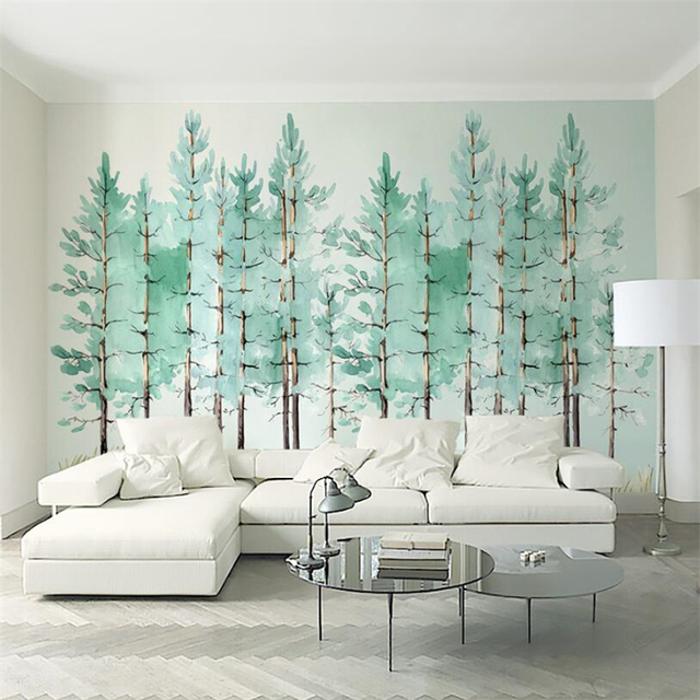 Beibehang Wall Papers Home Decor Custom Wallpaper Modern Fashion Mint Green  Fresh Wood Nordic Mural Tapeta