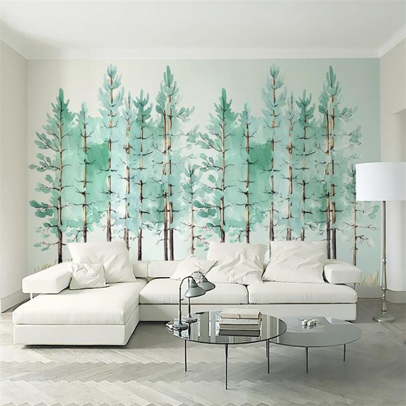 Wellyu Wall Papers Home Decor  Custom Wallpaper    Modern Fashion Mint Green Fresh Wood Nordic Mural  Tapeta Do Pokoju