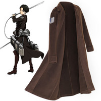 Quality Attack on Titan Cloak Cosplay Anime Shingeki no Kyojin Levi Ackerman Wollen Windbreaker Long Scout Legion Coat Men Women