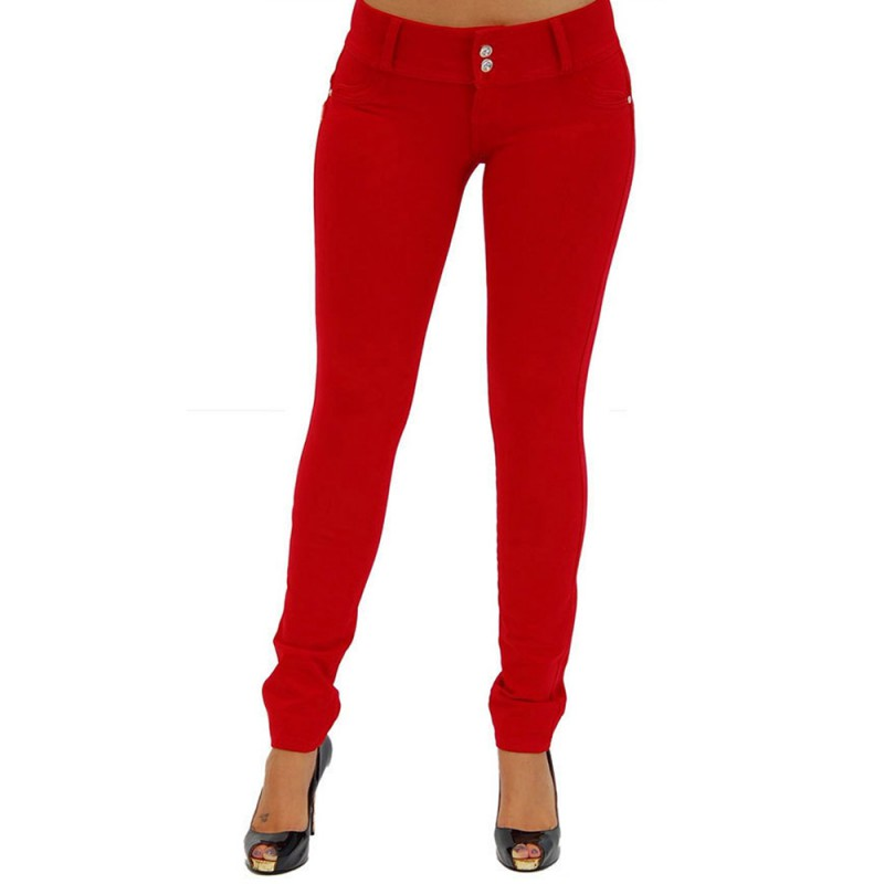 Women Pants & Capris Solid Red Sexy Slim Buttocks Tights Skinny Pencil Pants Solid Slacks Sexy High Quality New Arrival