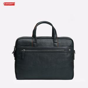 Image 5 - 2019 New Genuine Leather Mens Briefcase Business Black Leather Handbag Casual Shoulder Bag Large Capacity Computer Briefcases