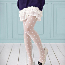 Big wave point big dot ultra thin jacquard stockings pantyhose little black white