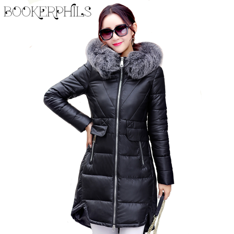 2017 Winter Women Coat Warm Thick Fur Collar Plus Size Pu Winter Jacket Women Parkas Female PU leather Jacket Black/Pink L-3XL