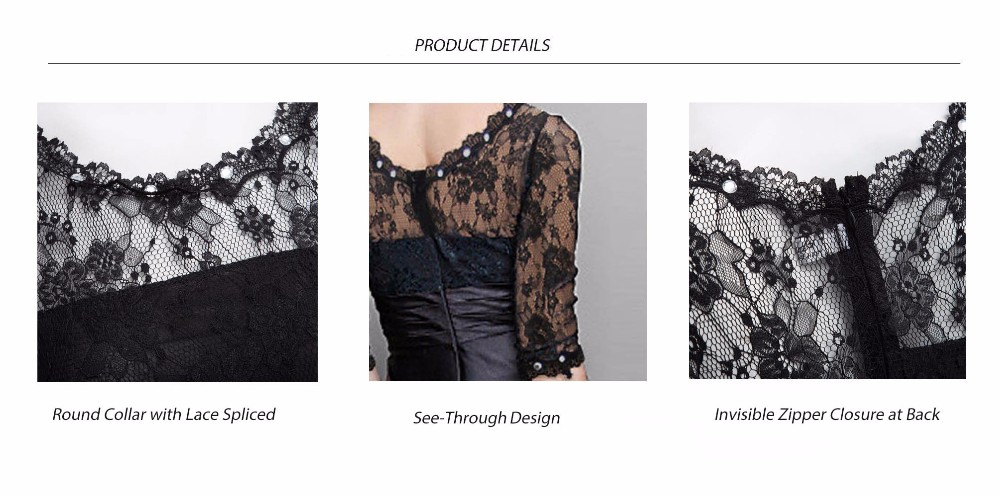 Elegant Little Black Women Maxi Long Dress Sexy Robe Femme Tunic Floral Lace Night Evening Party Dresses Pleated Mesh Vestidos 18