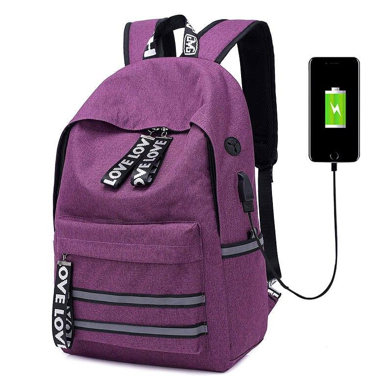 USB Unisexe Conception Sac À Dos sacs d'école à la mode pour jeunes filles Sac À Dos Sac À Dos Oxford Toile Ordinateur Portable De Mode Homme Sacs À Dos