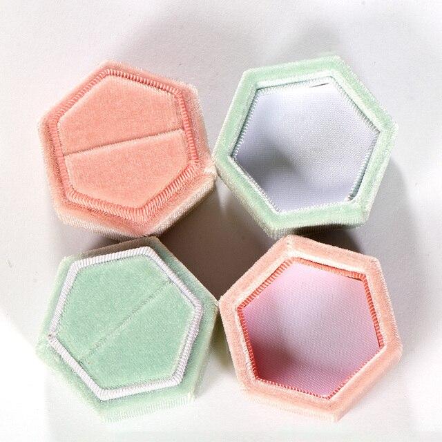 Kuololit Pink Velvet Hexagon Ring box 5