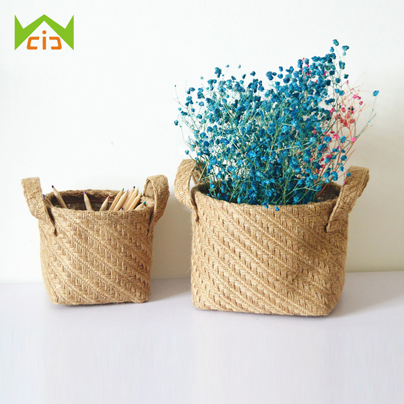WCIC Folding Storage Basket Cotton Linen Handle Jute Basket Makeup Box Retro Style Hanging Bags Mini Desktop Storage Bag