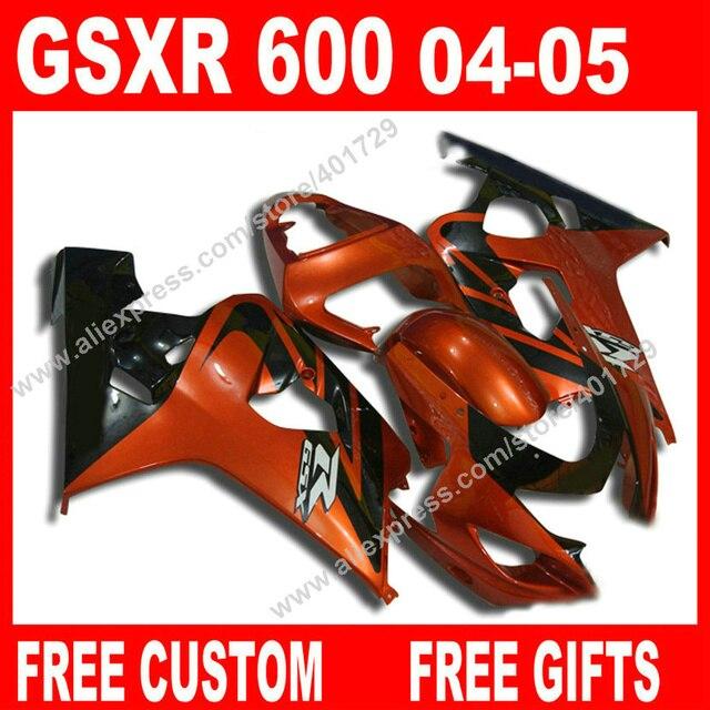US $362 0  Free custom Fairings for orange black 2004 2005 bodywork SUZUKI  GSXR 600 750 gsxr600 parts 04 05 fairing kits 7 gift BK02-in Covers &