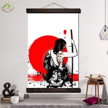Trash Polka Art Woman Back Framed Scroll Painting Modern Canvas Prints Poster Wall Pictures Home Decor