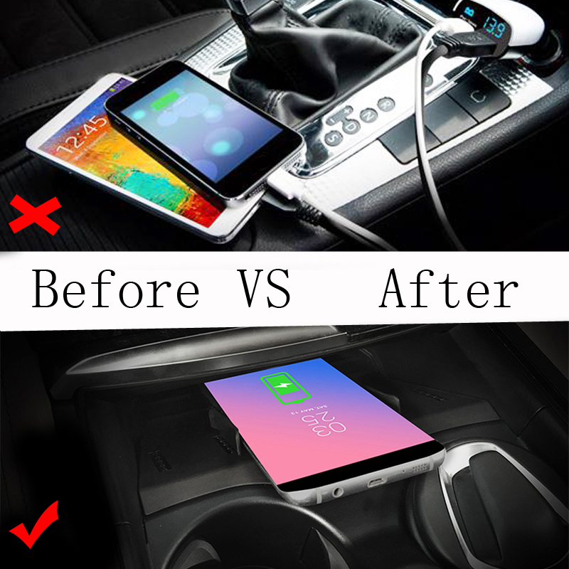 Car QI wireless charging phone charger charging case center console phone holder for BMW 5 6 Series F10 G30 G38 GT for iPhone 8