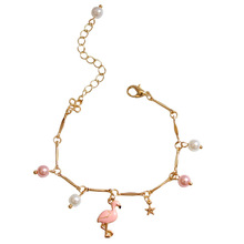 SANSUMMER 2019 New Latest Bracelet Animal Style Pink Flamingo Metal Star Pearl Combination Decoration Best Gift 6303