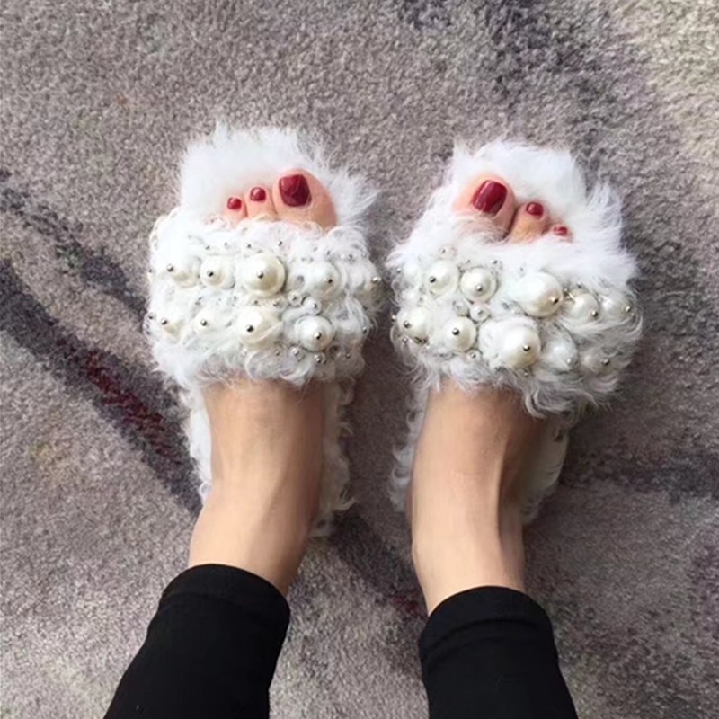 Luxury Handmade Pearl Crystal Fur Women Slippers Warm Winter Flats Shoes Fur Slides Soft Hair Slippers Slip On Loafers Mules 40 все цены