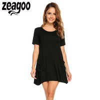 Zeagoo Women O Neck Short Sleeve Front Pockets Solid Long Loose Tee T Shirts Summer Casual