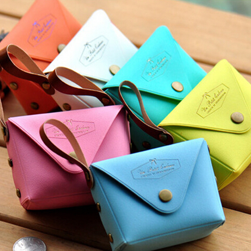 Candy Color Women Coin Purse Small Wristlet Lady Wallet Girls Change Pocket Pouch Hasp Bag PU leather Keys Case 5