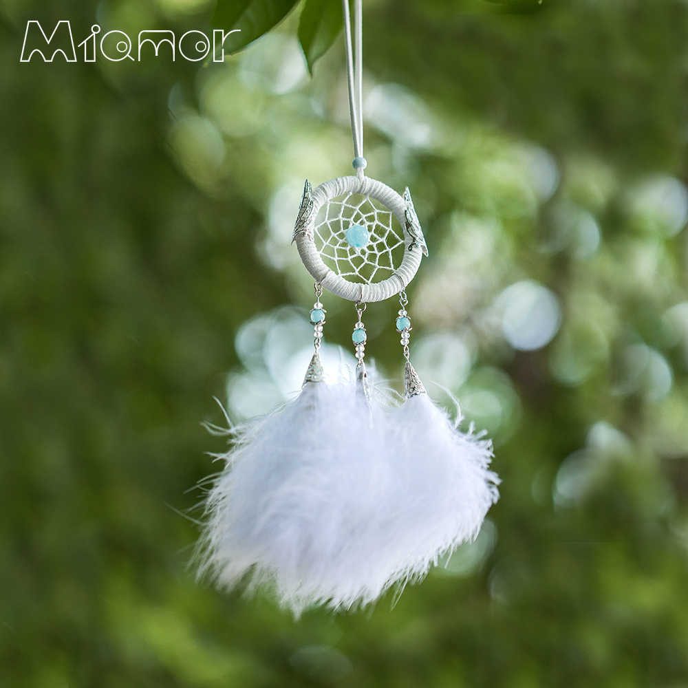 Small White Dreamcatcher & Wind Chimes Car & Bar & Home Wall Hanging Pendant Decor Dream Catcher Gift For Girlfriend AMOR0396