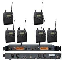 В ухо монитор Беспроводная система SR2050 двойное контролирующее устройство передатчика профессиональное для сцены 6 приемников