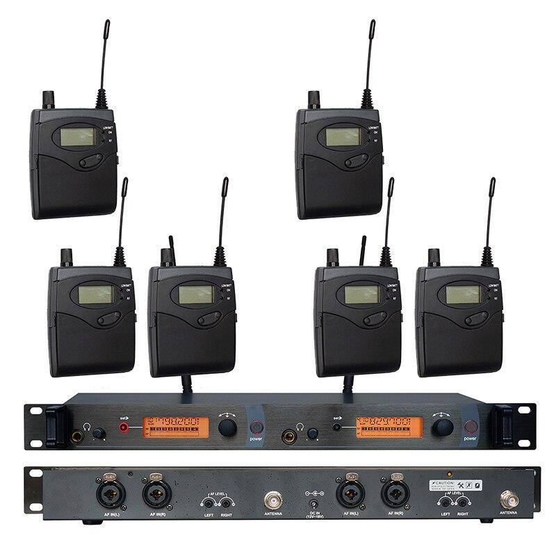 In Ear Monitor di Sistema di SR2050 Doppio trasmettitore Senza Fili di Monitoraggio Professionale per la Prestazione Della Fase 6 ricevitori