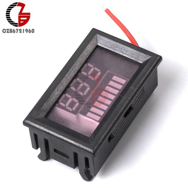 """0,56 """"LED Digital Voltmeter 6V 12V 24V 36V 48V Batterie Kapazität Anzeige Spannung Meter blei Säure Power Volt Tester Detektor"""