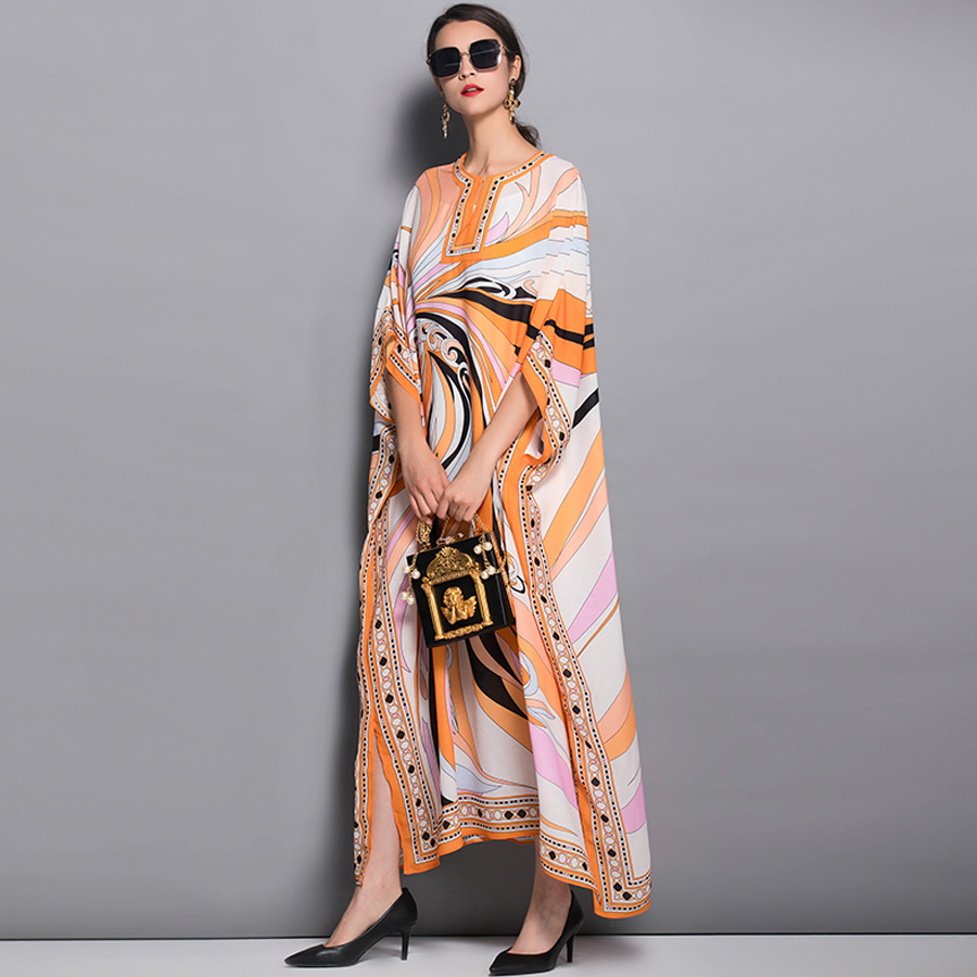 98b545bc954fe Fleepmart fashion 2019 New Designer Dresses Women Autumn 2018 Runway  Batwing Sleeve Vintage Printed Split XXL Elegant Maxi Loose Long Dress