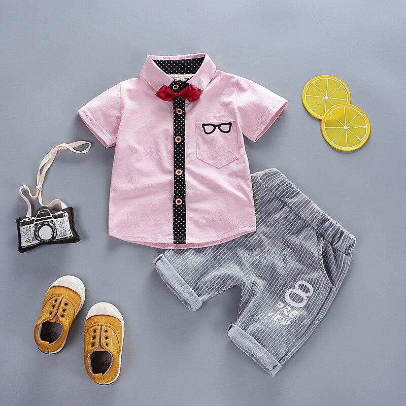 Active Bibicola Summer Baby Boy Fashion Set T-shirt +shorts 2pcs Set 2018 Infant Boy Casual Cotton Set Toddler Boy Bow Gentleman Set