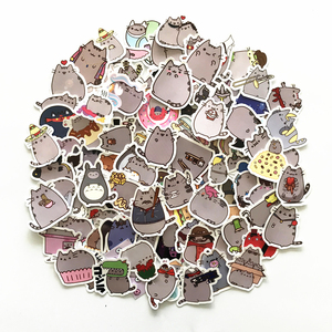 Image 2 - 100 Gato Dos Desenhos Animados Adesivos Para Snowboard Pçs/lote Laptop Bagagem Carro Frigorífico Carro Styling Vinyl Decal Home Decor Adesivos