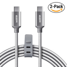 USB-C to USB-C USB 2.0 Cable, ESR 2Pack Data Sync fast Charging 2M Type C to Type C Cable for MacBook, for Samsung S8, for LG G6