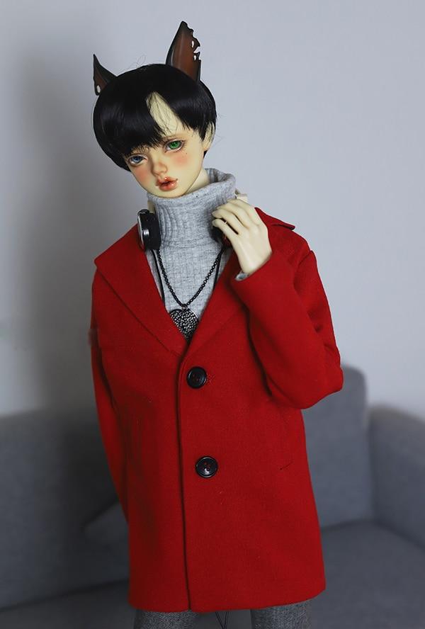 BJD coat red woolen classic coat suitable for 1 4 1 3 BJD Uncle POPO68 SD17