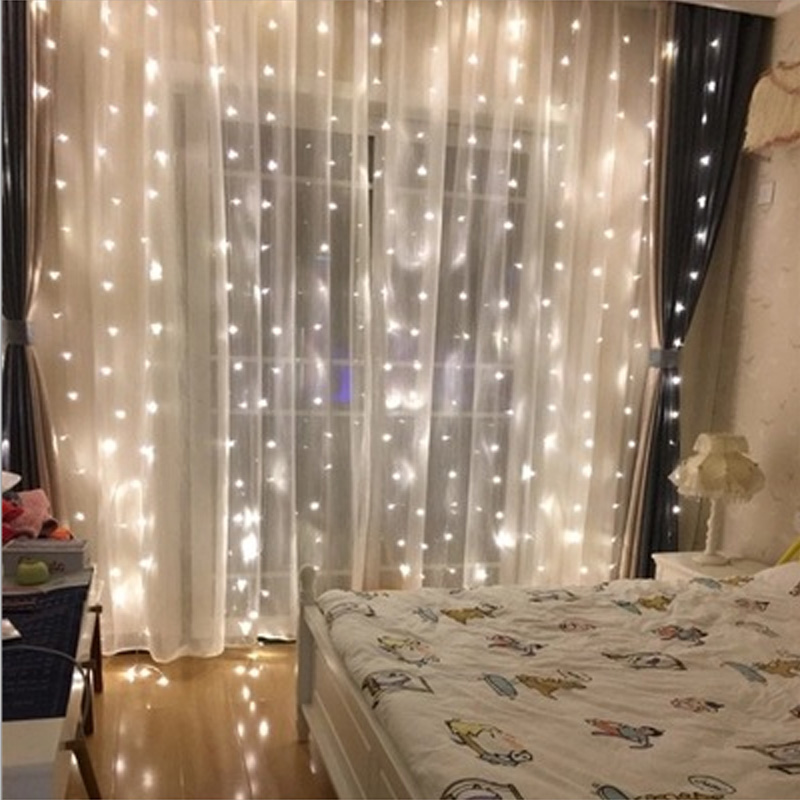 Lights String Window Curtain Fairy Lamp Wedding Party Decorations Romantic Home Decor 3Mx3M 300LEDs EU / US Plug 220v 110V