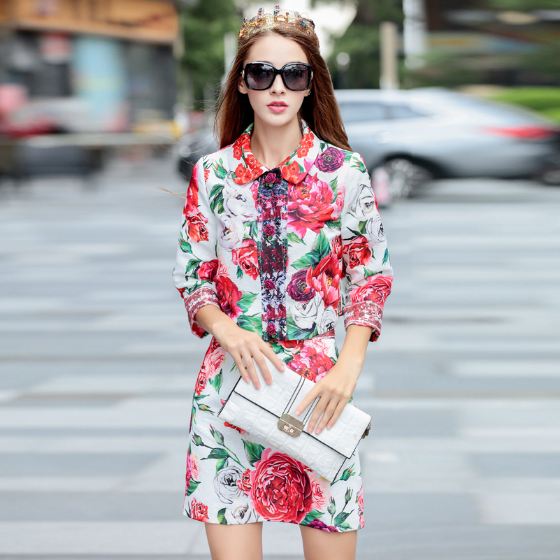 High quality fashion runway Suit sets Women s Appliques coat and Sequined Mini Skirt Flower Print