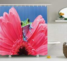Animal Shower Curtain Set Cute Tiny Little Tree Frog On Gerbera Flower Magical Nature Moments Shoots Art Photo Doormat(China)