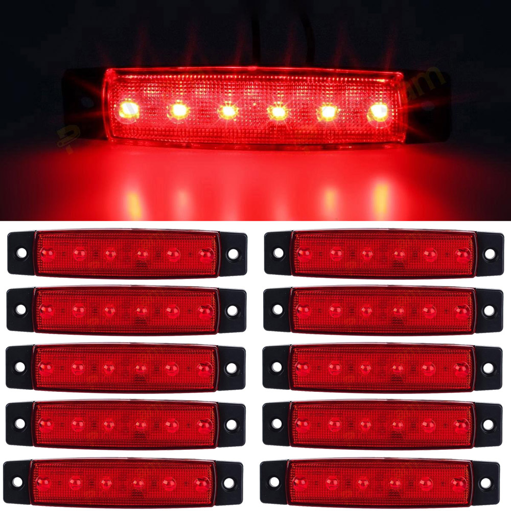 10pcs RED 12-24V 6 SMD LED Auto Car Bus Truck Lorry Side Marker Indicator low Led Trailer Light Rear Side Lamp cyan soil bay 10pcs 6led red white green blue yellow amber 6 led clearence truck bus trailer side marker indicators light lamp
