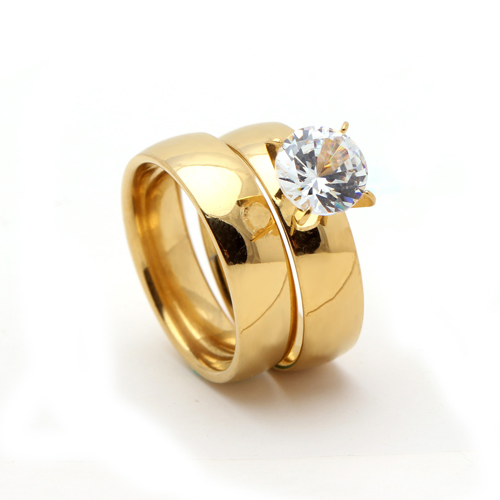 New gold color white 8mm zircon stainless steel anniversary s