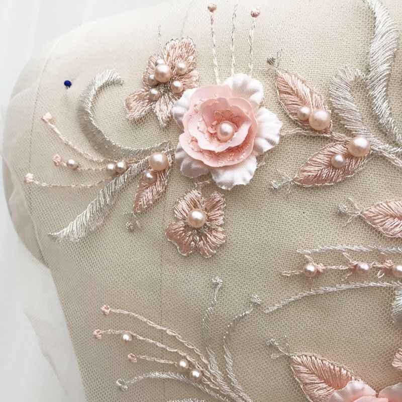 para Ropa Accesorios MoonyLI Flor Tridimensional de Encaje en 3D para Manualidades decoraci/ón Bordado