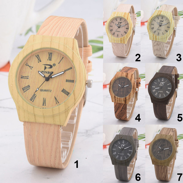 Men Women Wood Pattern Quartz Watch PU Leather Wristwatch Student Sport Casual W
