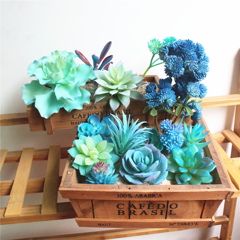 Artificial Succulent Plants Home Decoration Green Blue Plastic Faux Cactus Succulents Simulation Fake Plant Office Decoration