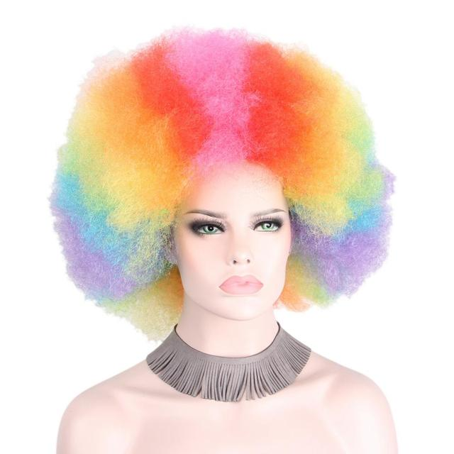Afro Clown Wig Rainbow Coloful Big Top Curly Party Wigs for Women Men Kids  Colorful Football Fans Wig Hair 9535d9284ab5